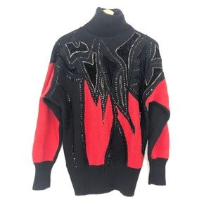 VINTAGE Red & Black Turtleneck Sequined Sweater